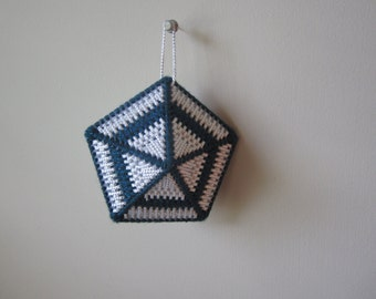 BLUE WHITE SILVER Needlepointed Decahedron Ornament