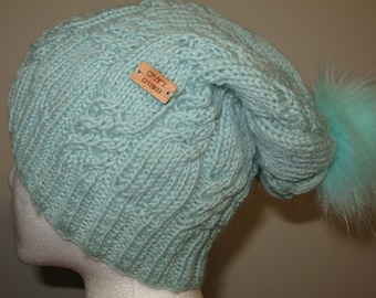 100% Wool Hand Knit Hat - mint slouchy beanie with cable texture and pompom