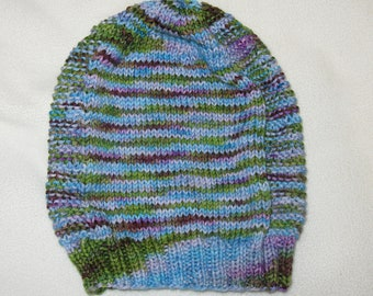 handknit beanie - slouchy multicolored stripes and textured