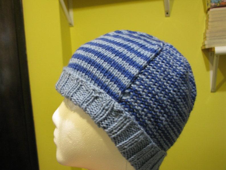 blue stripes toddler - small child medium Knit Wool Beanie