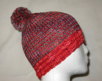 100% Wool Hand Knit Hat - Red and Blue textured