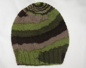 handknit beanie - slouchy greens and grey