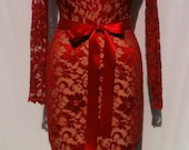Baylis Knight Red Nude LACE Long Sleeve Low Cut Wiggle Knee Dress Dita Burlesque Classic Gown