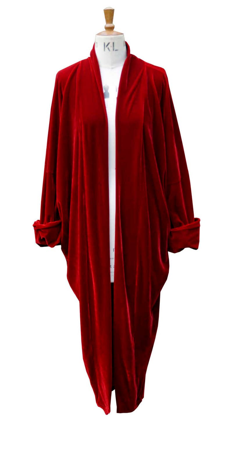 1920s Coats, Furs, Jackets and Capes History Baylis and Knight Red Velvet Duster Coat Opera $94.38 AT vintagedancer.com