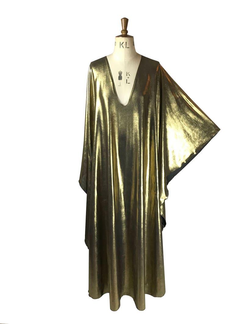 Vintage Style Dresses | Vintage Inspired Dresses Baylis & Knight Maxi Gold Plunge Studio 54 dress $121.90 AT vintagedancer.com