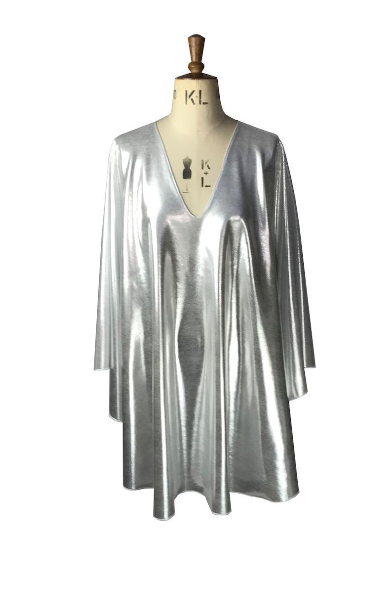 Vintage Style Dresses | Vintage Inspired Dresses Baylis & Knight Silver plunge neck STUDIO 54 Batwing 70s Disco Queen Glam Bat Wing Dress $98.95 AT vintagedancer.com