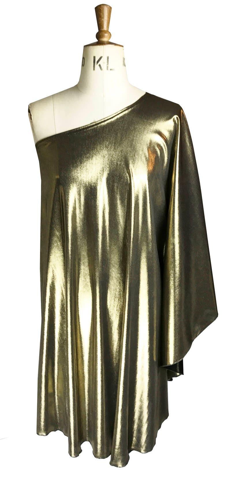 Vintage Style Dresses | Vintage Inspired Dresses Baylis & Knight Gold Lame STUDIO 54 Batwing 70s Disco Queen Glam One Shoulder Bat Wing Dress Elegant (Smock) $84.61 AT vintagedancer.com