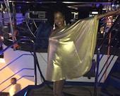 Baylis Knight Gold Lame STUDIO 54 Batwing 70 39 s Disco Queen Glam One Shoulder Bat Wing Dress Elegant (Smock)