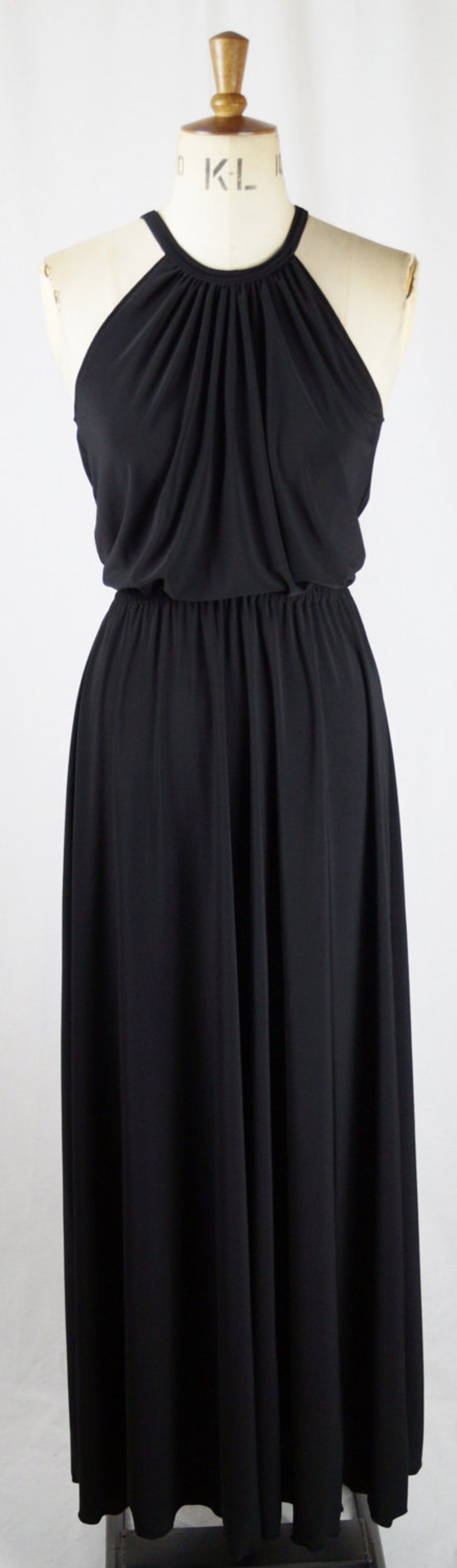 70s Sequin Dresses, Disco Dresses Baylis & Knight Black Grecian Studio 54 High Neck Maxi Dress Elegant Long Formal Gown Relaxed 70s Chic $100.39 AT vintagedancer.com