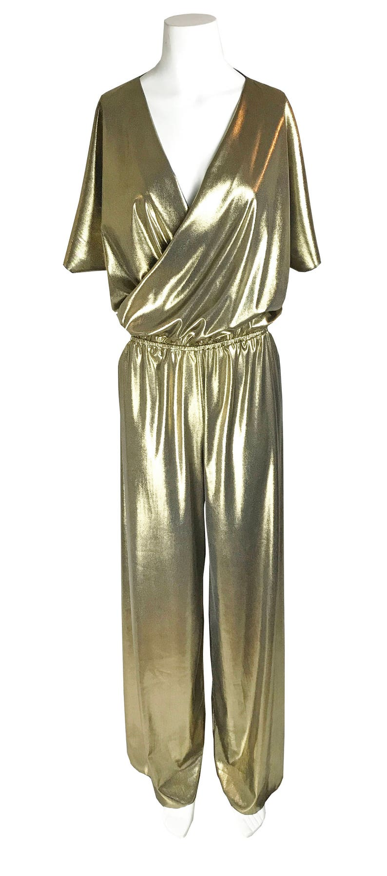 70s Disco Fashion: Disco Clothes, Outfits for Girls Baylis & Knight Gold Wrap Wide Leg CATSUIT 70s Chic Playsuit Jumpsuit Studio 54 $106.61 AT vintagedancer.com