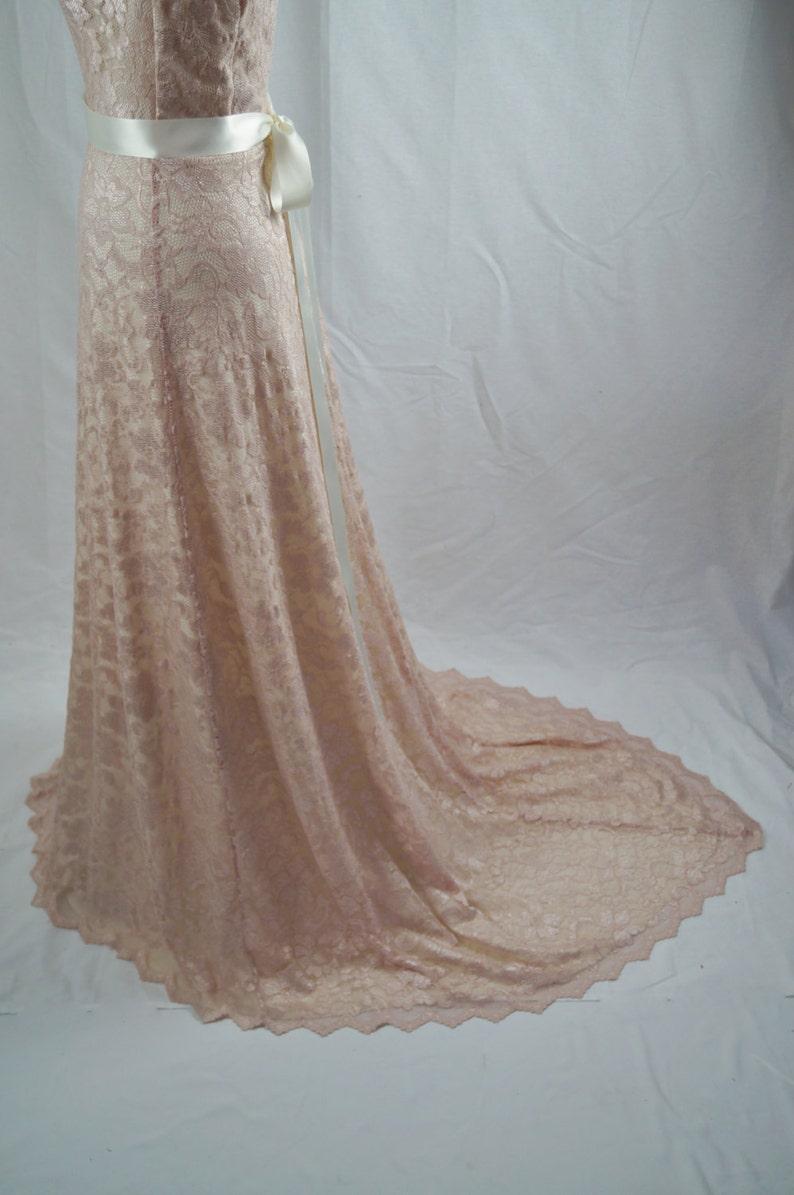 6a92508039 Baylis   Knight Pale Blush Pink Ivory Lace TRAIN Princess Kate