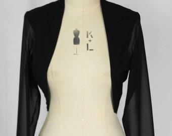 Baylis & Knight Black CHIFFON Sheer Cropped Long Sleeved Bolero Cardigan Wrap Stole Shrug Summer Wedding