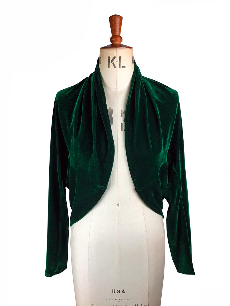 Vintage Coats & Jackets | Retro Coats and Jackets Baylis and Knight Green Velvet bolero elegant cocktail pinup Event wedding guest $52.58 AT vintagedancer.com
