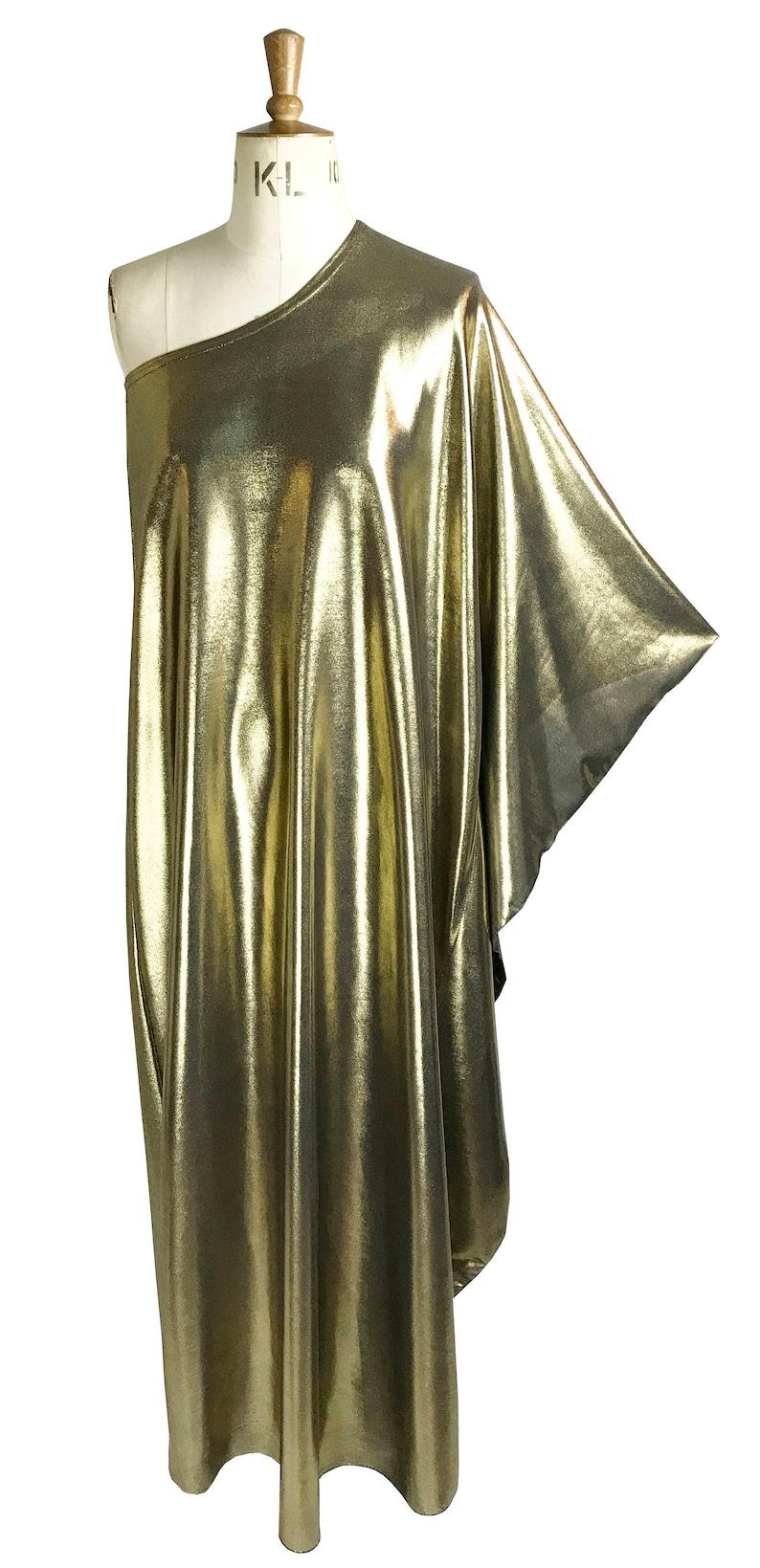 Vintage Style Dresses | Vintage Inspired Dresses Baylis & Knight GOLD STUDIO 54 MAXI Long Batwing 70s Disco Glam One Shoulder Bat Wing Dress Black Elegant (Smock) $107.56 AT vintagedancer.com