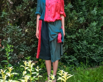 Upcycled Silk Shirtdress Large L/XL, avantgarde dress, silk dress, upcycled silk shirt