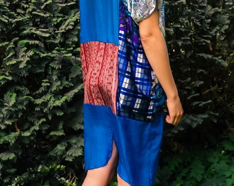 Upcycled Patchwork Blue Silk Dress, one size