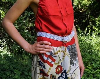 Upcycled Patchwork Red Silk Maxi Dress, size (europ. S/M)