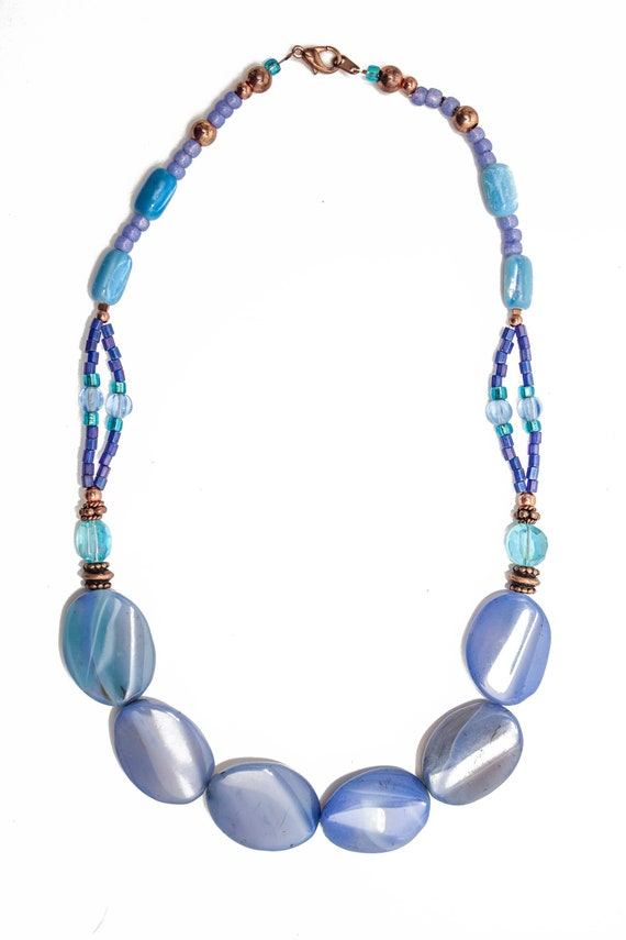 Dreamy Blue Glass Bead Necklace