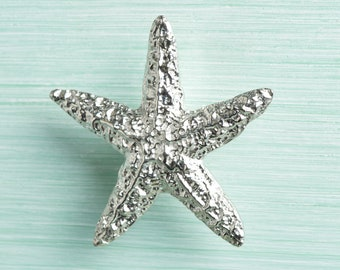 Starfish (Small) Solid Fine Pewter Cabinet Knobs, UK Handmade Unusual Door Handles and Drawer Pulls by Glover and Smith
