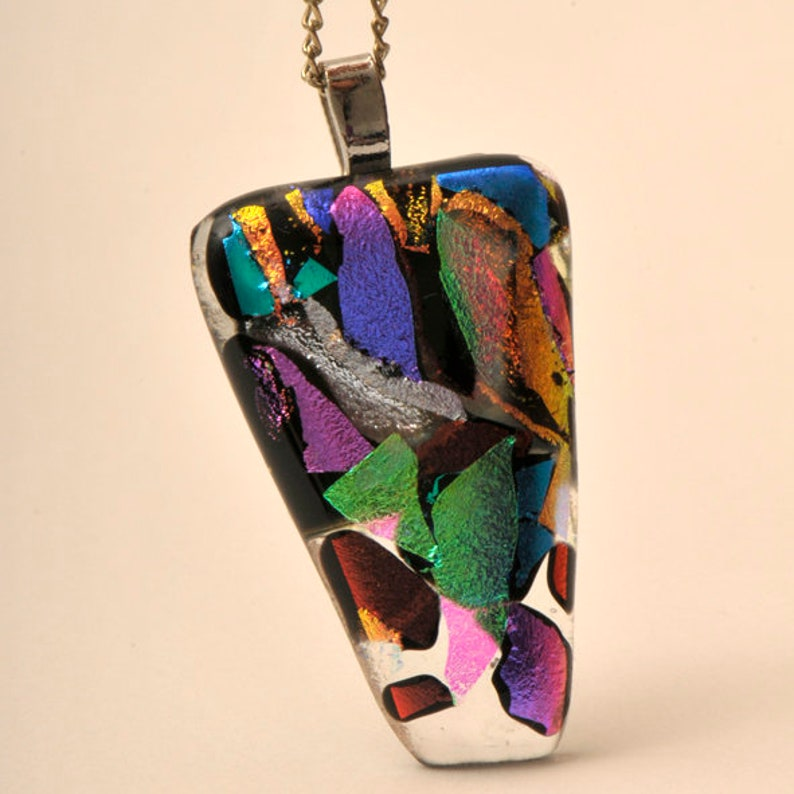 Unique Dichroic Glass Pendant with Necklace Chain Handmade