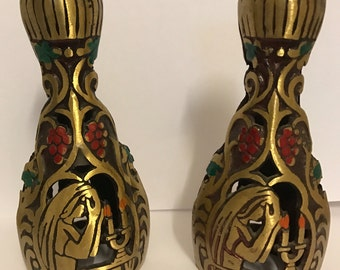 Pair Of Brass Vintage Small Candle Holders