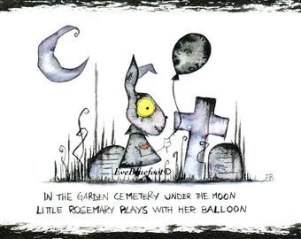 Goth Bunny Rabbit Illustration Print, Bunny Mini Painting, Whimsical Rabbit Illustration, Goth Art Doodle, Garden Cemetery Illustration