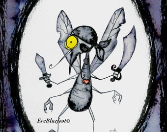 Pirate Bug Illustration Print, Bug Painting, Funny Illustration,  Insect Doodle, Spooky Doodle, Stinky insect,  Whimsical Flower Bug