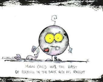 Moon Child Illustration Print, Moon Mini Painting, Whimsical Moon Illustration, Goth Baby Moon Doodle, Dark Painting, Goth Illustration