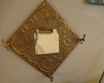 Vintage Metal Entry Mirror with 3 Hooks