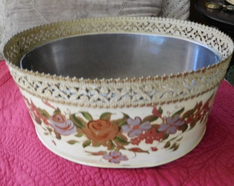 Vintage Tole Planter/Mail Holder with Perfect Liner