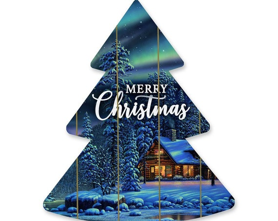 Merry Christmas Tree Sign- Wood Christmas Tree Sign- Wood Christmas Tree Cutout