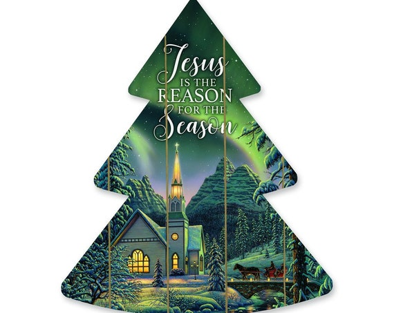 Jesus is the reason for the season tree sign- Pallet Christmas Tree- Wood Christmas Tree Cutout