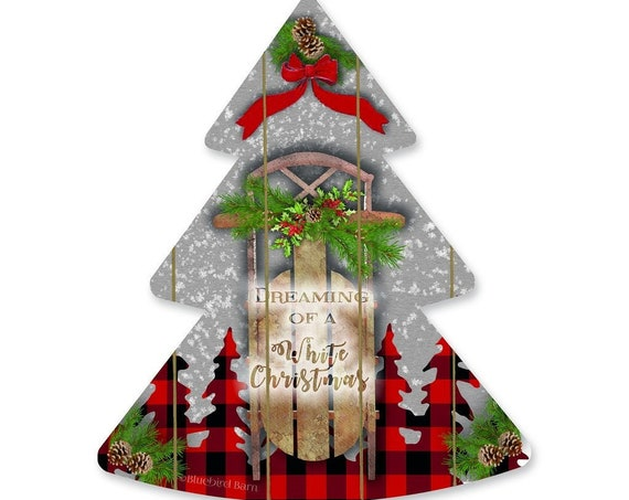 Dreaming of a White Christmas Sign - Wooden Christmas Tree - Plaid Christmas Tree - Wood Sleigh Christmas Sign