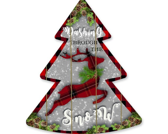 Dashing Through The Snow Sign- Wooden Christmas Tree- Plaid Christmas Tree- Reindeer Sign