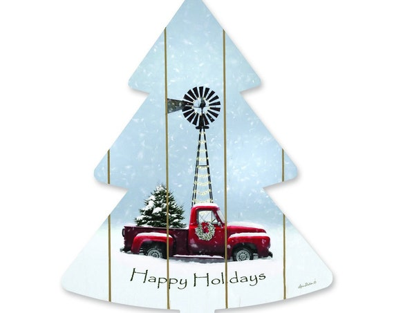 Red Christmas Tree Truck- Farm Fresh Christmas Tree with Truck- Farmhouse Christmas Sign