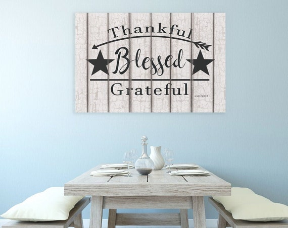 Blessed Thankful Grateful Print - Dining Room Prints - Dining Room Art - Kitchen Prints - Kitchen Art-Dining Room Wall Decor-Home Art