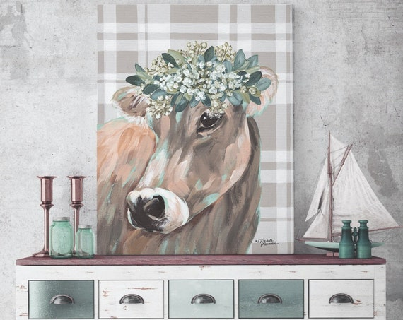 Cow With Flower Crown - Cow Print - Girl Nursery Print  - Cow Flower Crown - Cow wall art - Cow Nursery Wall Art cow painting prints
