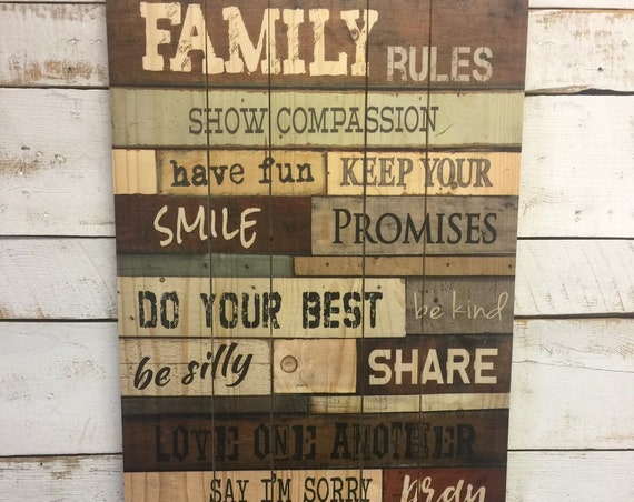 Family Rules Sign - House Rules Sign - Dining Room Wall Art - Family Values Sign - Dining Room Decor - Home and Living - pallet wall art