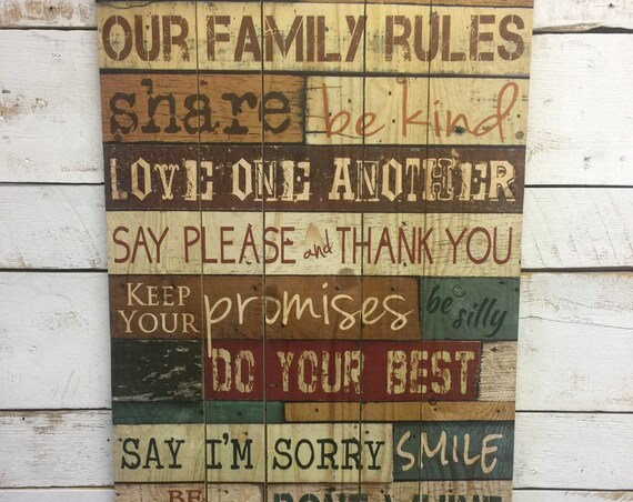 Family Rules Sign-Pallet Wall Art-Pallet Wood Sign-Family Values Sign-House Rules Sign-Dining Room Wall Art-Dining Room Decor