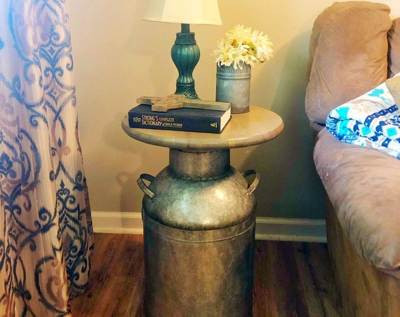 Wood end table, rustic end table, rustic table, milk can, night stand, side table, plant stand