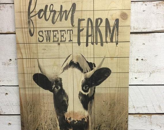 Farm Sweet Farm-Marla Rae-Cow Wood Sign-Farmhouse Cow-Cow Wall Decor-Cow Sign