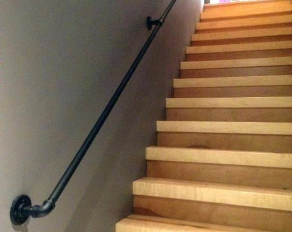 "1"" Diameter Pipe Handrail-Industrial Handrail- Hand Rail- Pipe Railing- Industrial Decor- Railing- Pipe Bar"