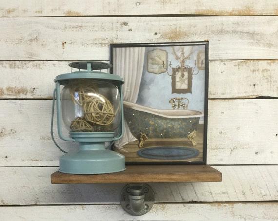 Rustic Floating Shelf-Rustic Pipe Shelf-Pipe Furniture-Iron Pipe Shelf-Wall Decor Shelf
