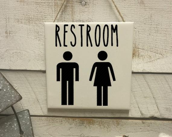 Restroom Gender Sign-Mens Women Restroom Sign-Toilet Decor-Rustic Bathroom Sign-Rae Dunn Inspired-Funny Bathroom Sign