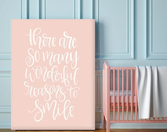 There are so many reasons to smile print - Girls Nursery Decor - Pink Wall Decor - Wall Art Print - baby girls nursery - girl poster print