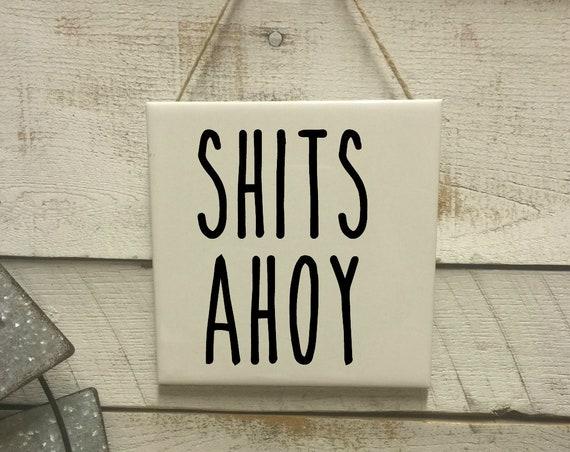 Potty Talk Sign-Nautical Sign-Wall Decor-Bathroom Sign-Rae Dunn-Bathroom Art-Beach Bathroom-Nautical Bathroom-Funny Bathroom
