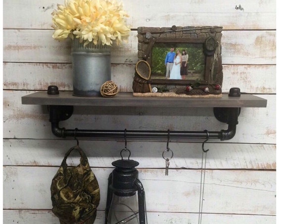 Rustic Wood Shelf-Pipe Furniture-Steampunk Shelf-Rustic Pipe Shelf-Wall Mounted Shelf-Farmhouse Entry-Rustic Coat Rack