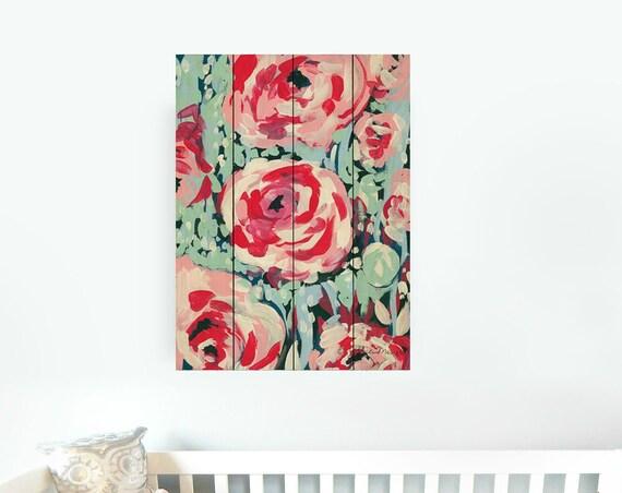 Rose Floral Nursery Decor - Baby Girl Wall Art - Nursery Wall Decor - Pallet Wood Sign - Pallet Wall Art - Pallet Wall Decor - Pallet Art
