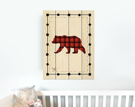 Buffalo Plaid Bear Sign - Bear Nursery Decor - Bear Wall Art - Nursery Wall Decor - Pallet Wall Art - Pallet Wall Decor - Wood Pallet Art