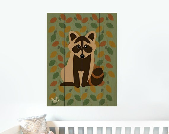 Wooden raccoon wall decor Sign-Raccoon Nursery Decor-Raccoon Wall Art